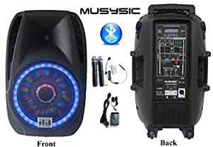 "MUSYSIC Professional 2000 Watts Portable 15"" PA System Speaker Bluetooth Dual UHF Wireless Mics Bluetooth Recording Rechargeable Battery MU-U15PA"