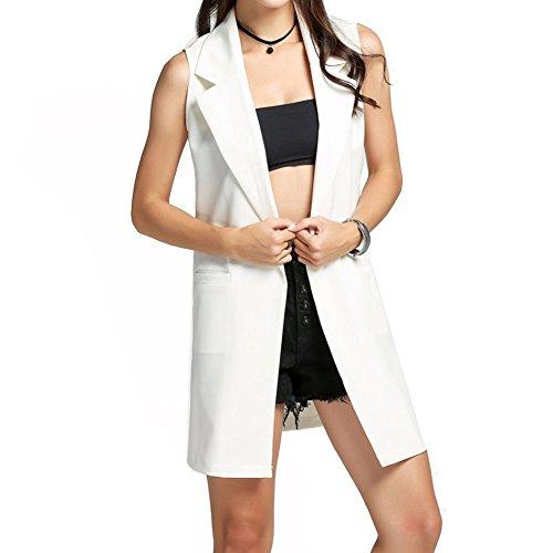 Mangas Blazer Open Blanco Coat Largo Mujer Juleya sin de Duster Chaleco Front 641x4nzIw