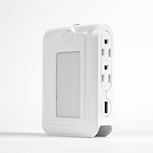 Price comparison product image Outlet with Sensor Dual USB Outlet Charging Ports Automatic Induction LED Night Light and Slot Phone Holder for Bedroom, Hallway, Bathroom and More