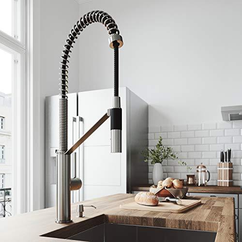 VIGO Livingston Magnetic Kitchen Faucet With Soap Dispenser In Stainless Steel California Faucets Stainless Steel Soap Dish