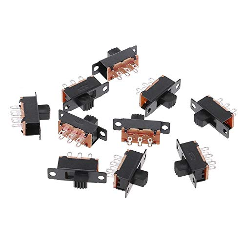 JohnnyBui - 10Pcs SS22F32 6 Pins 2 Positions DPDT On/On Mini Slide Switch 0.5A Toggle Switch For Electric Toy Fax-M18 ()