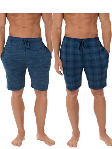 Fruit of the Loom Men's Knit Performance 2 Pack Soft Touch Wicking Sleep Short, Blue Heather/Plaid, Small