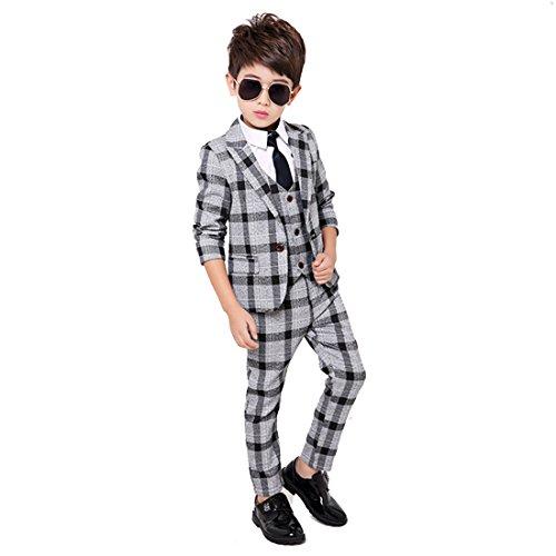 Gele Boy 4 Pieces Plaid Formal Suit Set,Vest+Pants+Blazer+Bow Tie (2T, Gray) (Plaid Suit Cotton)