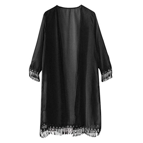 Go-First Beach Cardigan for Women Classic Solid Color Cozy Loose Lightweight Temperament Dress Summer Leisure Simple Chiffon Swimsuit Shawl with Fashionable Tassel (Color : Black, Size : Libero) ()