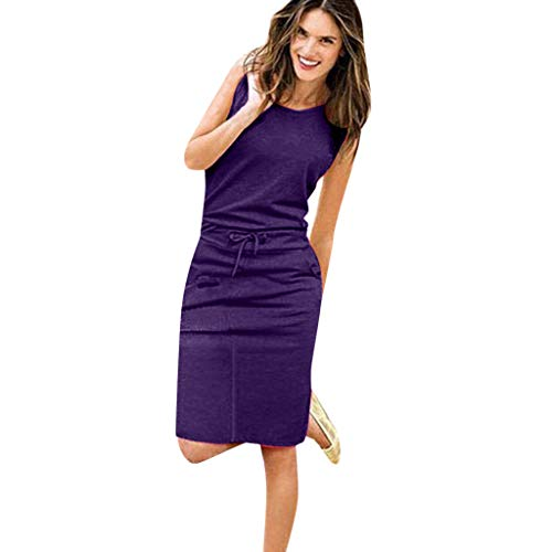 WM & MW Women's 2019 Casual Sleeveless Mini Dress Party Bodycon Drawstring Sheath Belted Dress with Pockets (Purple,L)