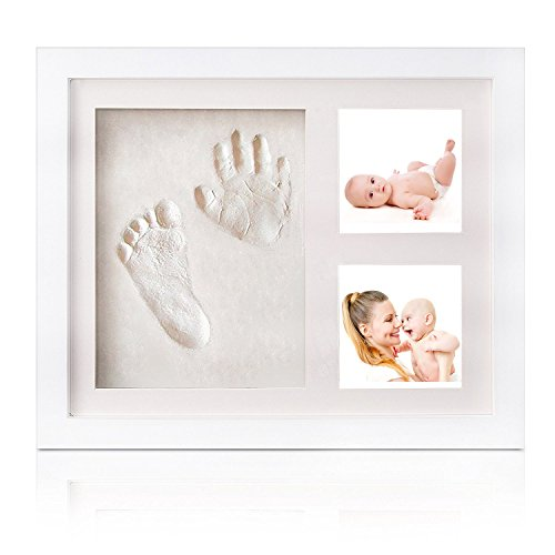 Baby Hand and Footprint Frame Kit ,Premium Solid Wood Photo