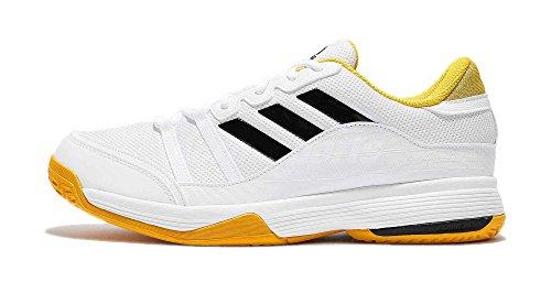 Zapatillas De Tenis Adidas Performance Hombres Barricade Court, Blancas / Amarillas / Negras, 12 M Us