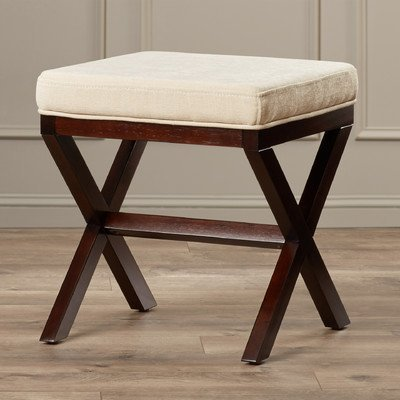 Bedroom/Bathroom Backless Vanity Stool Made w/ Polyester/Polyester Blend and Solid Hardwood in Avignon Stone and Espresso 18.5'' H x 17'' W x 17'' D in. by Charlton Home
