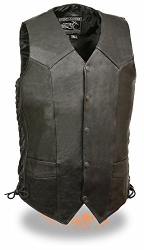 Exchange Leather Vest - Mens TALL Basic Black Cowhide Leather Vest (2XL)