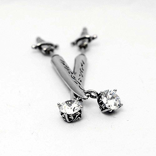 Daeou Women's Earrings Titanium Steel Sword-Shaped Cross Band Drilling with European-Ear Nails Diamond-impregnated Zircon Allergy Graduation Gift