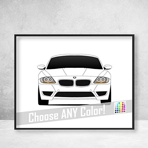 BMW Z4 M Roadster Coupe Z4M Poster Print Wall Art Decor Handmade M Power BMW - Bmw Z4m Roadster