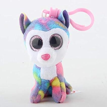 JEWH Ty Beanie Boos Big Eyes Plush Keychain Toy Doll Fox Owl Dog Unicorn Penguin Giraffe