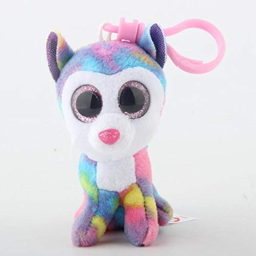 Big Eyes Plush Keychain Toy Doll Fox Owl Dog Unicorn Penguin Giraffe Leopard Monkey Dragon with Tag 4[ 10cm] (Rainbow Husky K) ()