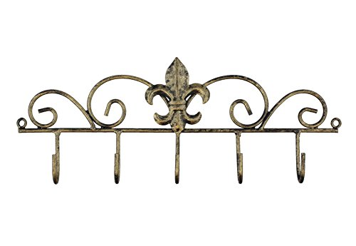 Decorative Fleur De Lis Wall Mounted Metal Hanger - 5 Hook - Keys, Hats, Towels, BBQ or Gardening Tools (Metal New Wall)