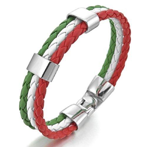(GSG Men's Stainless Steel Genuine Leather Bangle Bracelets Silver White Green Red Italy Italian Flag Braid Gothic)