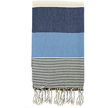 Swan Comfort 100% Natural Turkish Cotton Absorbent Beach Towel, Easy Care Ideal for Bath Spa Fitness Yoga Pool Yatch Swimwear Guest Gym - Blue - Navy Blue