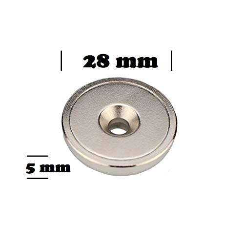 6 Pieces Strong Permanent Rare Earth Magnets with 6 Screws Magnetpro Neodymium Disc Magnets with Steel Cup 28 x 5 mm Countersunk Hole