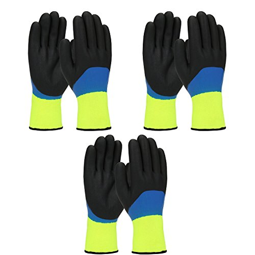 Waterproof Thermal Gloves (PIP G-Tek 41-1415 Mens/Womens Warm Thermal Waterproof Cold Weather Winter Work Gloves - Double Dipped Nitrile Coated (Large))