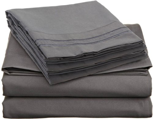 Brils-ri Premium Bed Sheets Luxury Resort Hotel 1800 Collection Sheet Sets Percale Microfiber Fabric Linen Deep Pocket Soft Cooling Non-Wrinkle Dryer Safe Fade Resistance (King, Charcoal Grey) (Best Selling Fabric Softener)