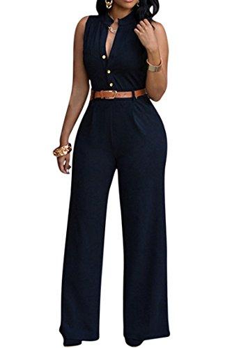 Pink Queen Womens Jumpsuits Elegant Button Loose Long Wide Leg Jumpsuits Romper (XL, Black)