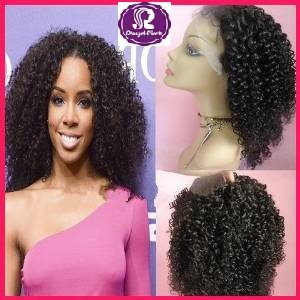 La plupart de vente chaude! Afro Kinky Curly brésilien Virgin Hair Lace Front Wig 100% perruques de cheveux humains avec implantation des cheveux et cheveux de bébé