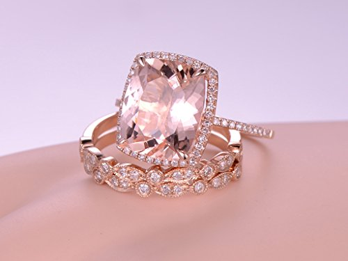 MYRAYGEM wedding ring sets 3pcs Morganite Engagement Ring Set,10x12mm Cushion Cut Pink Gemstone 14k Rose Gold Marquise Diamond Band