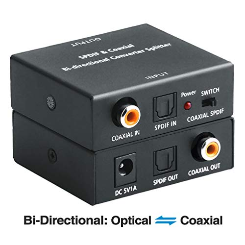 ROOFULL Optical to Coaxial OR Coax to Optical Digital Audio Converter, Bi-Directional Digital SPDIF Toslink Optical to/from Coaxial Digital Audio Signal Adapter/Repeater