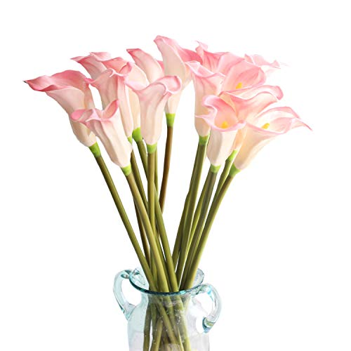 Calla Stem Pink Long Lilies (cn-Knight Artificial Flower 10pcs 26'' Long Stem Calla Lily Faux PU Flower Fake Arum Lily for Wedding Bridal Bouquet Bridesmaid Home Décor Office Baby Shower Centerpiece Reception(Pink))