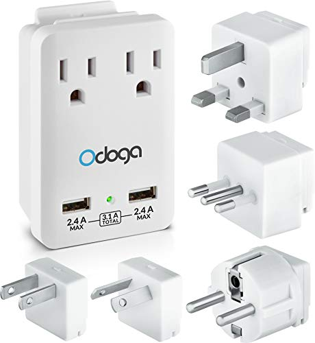 Odoga Travel Adapter Kit - Universal Power Adapter with 2 AC Outlets, 2 USB Ports - International Power Adapters Plugs for Europe, UK, China, Australia, Japan & More