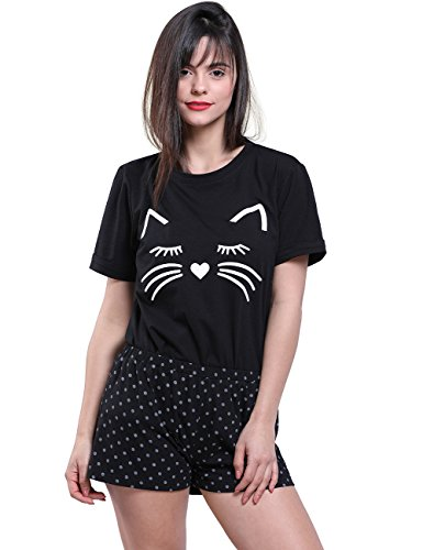Fancyqube Women's Short Sleeve Cute Cat Print Top and Shorts Soft Pajama Set Black - Polka Cat