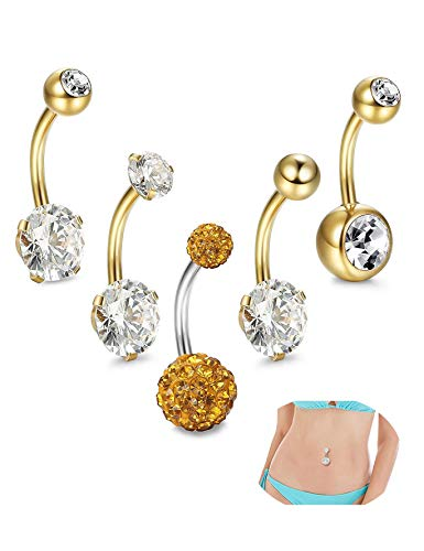 CEYIYA Personalized Belly Button Rings Set - Surgical Steel Navel Rings Ideal Gift for Women/Men/Girls,Fashion Belly Piercing Jewelry