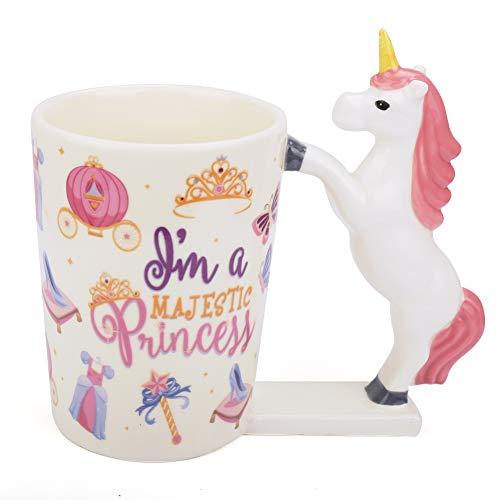 (Unicorn Mug for Girls,12oz Unicorn Coffee Mug,Funny Ceramic Morning Tea Cup with Handle,Cute 3D MagicalRainbow Unicorn Tumbler Ornaments,Novelty Unicorn Gifts for Women,Kids,Unicorn Lover (Pink))