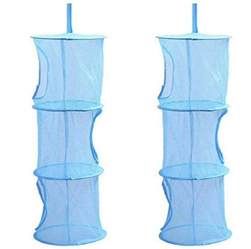 Goldenvalueable Hanging Mesh Space Saver Bags Organizer 4 Compartments Toy Storage Basket for Kids Room organization mesh hanging bag 2 Pcs Set Blue and Yellow