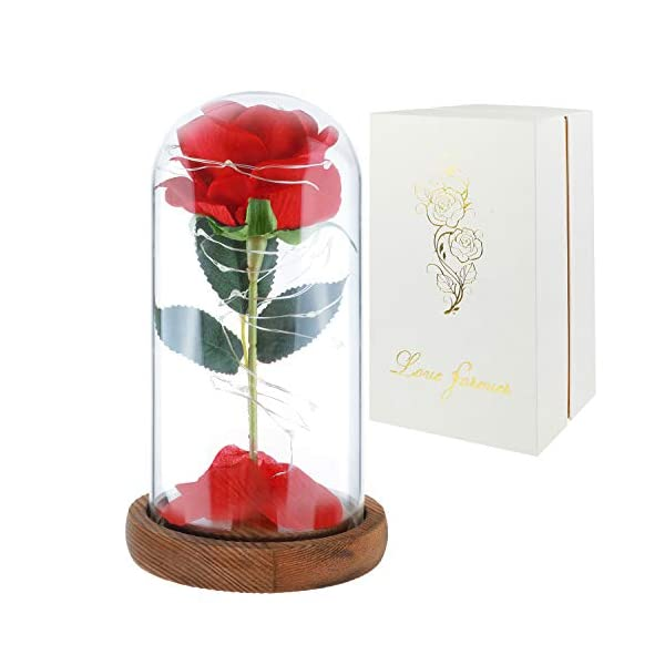 Childom Beauty and The Beast Rose, Roses Enchanted Red Silk Rose with Fallen Petals Led Fairy String Lights in A Dome, Gifts for Anniversary, Wedding (Natural Wood Base-New)