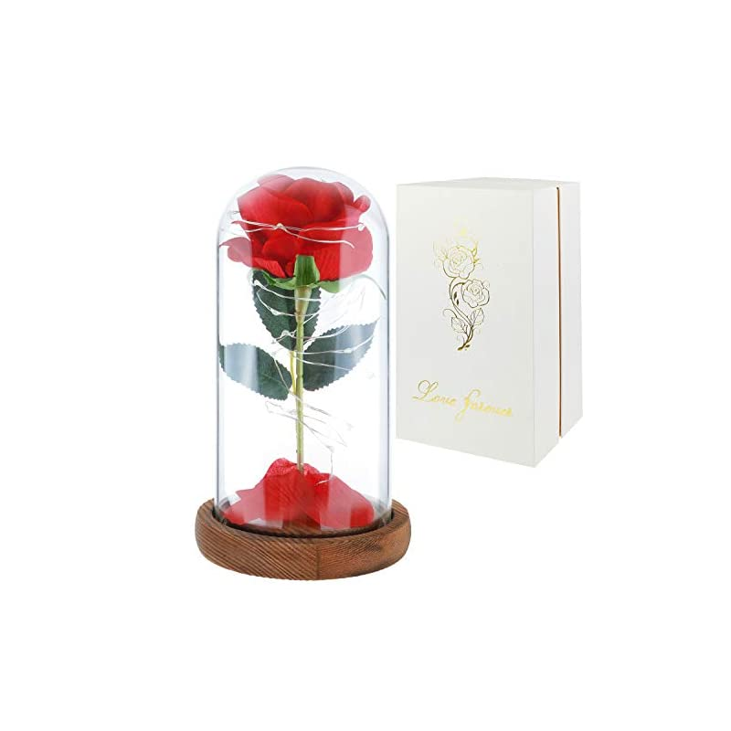 silk flower arrangements childom roses enchanted red silk rose with fallen petals led fairy string lights in a dome, gifts for anniversary, wedding,mom gift,mathers day