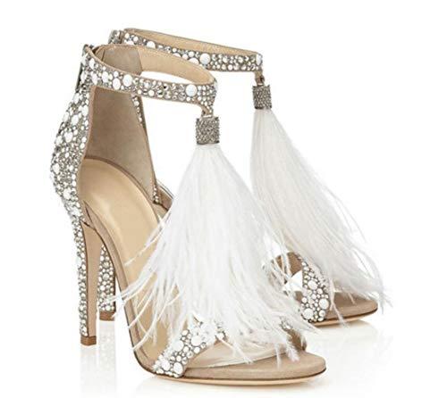 - Shoes-YMJ Women's PU(Polyurethane) Summer Basic Pump Sandals Stiletto Heel Open Toe Rhinestone Almond/Wedding Party & Evening,US5/EU35/UK3/CN34