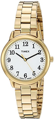 Timex Women's TW2R23800 Easy Reader Gold-Tone/White Stainless Steel Bracelet Watch (Ladies Casual Expansion Band Watch)