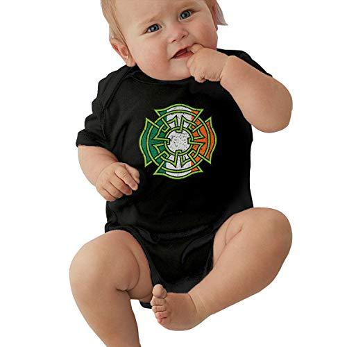 Celtic Irish Flag Maltese Cross Baby Onesie Organic Short-Sleeve Bodysuit Black