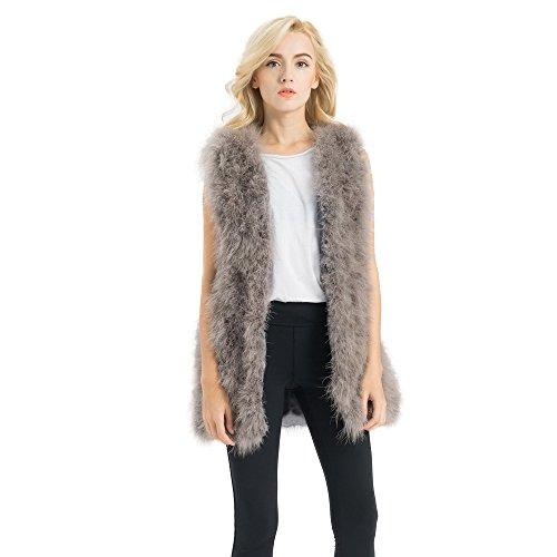 Jancoco Max Real Ostrich Fur Gilet Genuine Turkey Feather Long Vest Women Jacket 75cm ()
