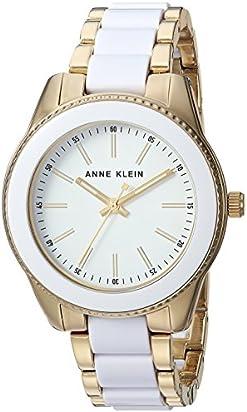 Anne Klein Women's AK/3214WTGB Gold-Tone and White Resin Bracelet Watch