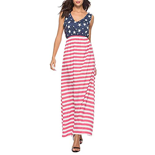 ❤️Ywoow❤️❤️ , Women Summer Flag Sexy Sleeveless Backless Striped Dress Evening Party Dress