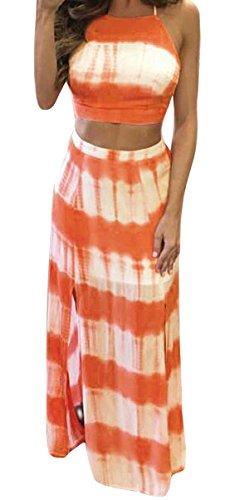 - YiYaYo Women's Crop Top Maxi Skirt Set 2 Pieces Outfit Bandage Nightclub Dress Orange M