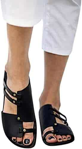 e7dbe197ed55 Womens Black Gladiators Retro Open Toe Leather Flat Sandals Slippers Roman  Shoes