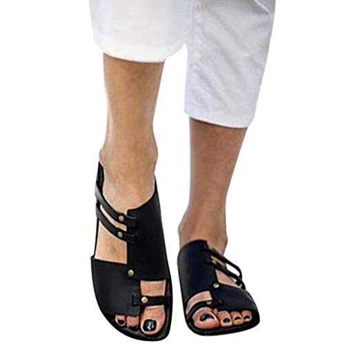 (Womens Black Gladiators Retro Open Toe Leather Flat Sandals Slippers Roman Shoes)