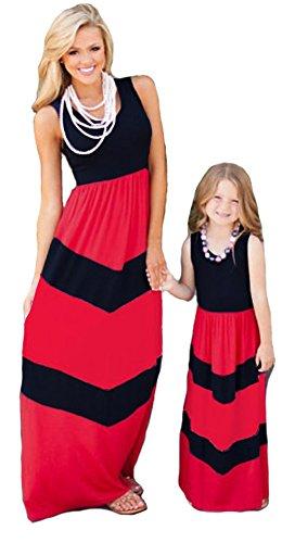 ETCYY Mother or Daughter Me Summer Sundress Beach Striped Boho Long Maxi Dress