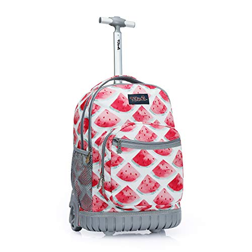 Tilami Rolling Backpack 18 inch Wheeled Laptop Backpack Waterproof School College Student Travel Trip Boys and Girls, Watermelon