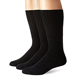 Calvin Klein Men's 3 Pack Cotton Rich Casual Rib Socks, Black, Sock Size: 10-13/Shoe Size:9-11