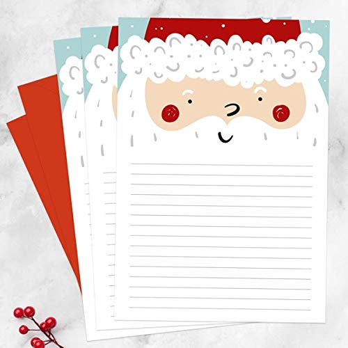 Premium Kids Father Christmas Thank You Letter Writing Notelet Set – Pack of 20 with Envelopes. Made in The UK