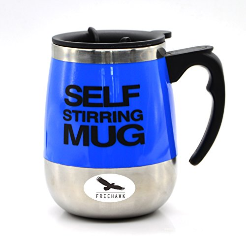 Freehawk Hot Sale Novelty Automatic Electric Stirring Coffee Mug Double Layer Stainless Steel Self Stirring Auto Coffee Mugs Self Mixing Cup for Morning, Office, Travelling in Blue (450ml/15.2oz)
