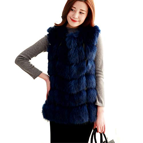 Women Import Fox Fur Vest Coat Warm Fur Vest Coat Women Long Faux Fur Vest Winter Coat Jacket Outwear (XL, Blue) - Blue Fox Fur Coat Jacket